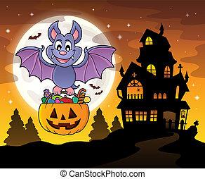 morcego, dia das bruxas, tema, imagem, 4