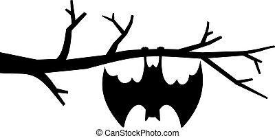 morcego, ilustração, árvore, penduradas, vetorial