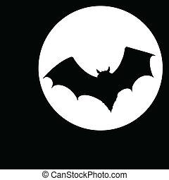 morcego, ilustração, lua