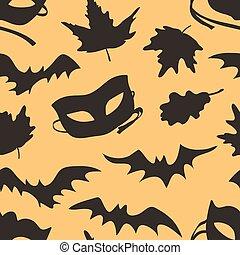 morcego, moda, arte, work., experiência., pattern., desenhado, dia das bruxas, seamless, folhas, outono, máscara, vetorial, mão, tinta, real, criativo, set: