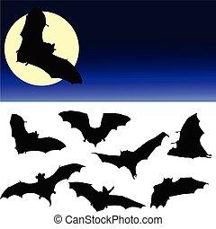 morcego, pretas, silueta, e, lua, ilustração
