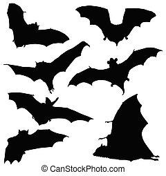 morcego, pretas, silueta, ilustração