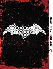 morcego, símbolo., morcego, cartaz, em, grunge, estilo