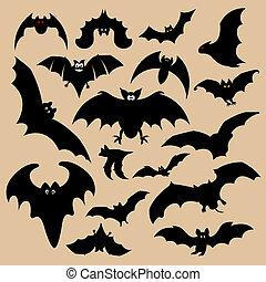 morcego, silhuetas