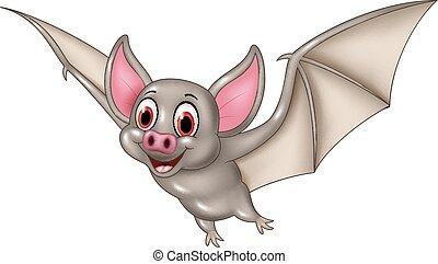morcego, voando, caricatura, isolado