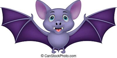 morcego, voando, caricatura