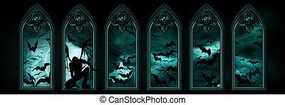 morcegos, bandeira, dia das bruxas, anjo caído