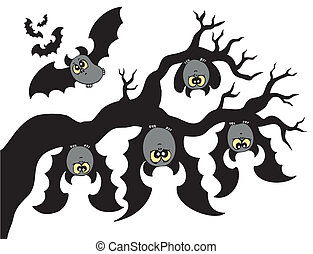 morcegos, caricatura, ramo, penduradas