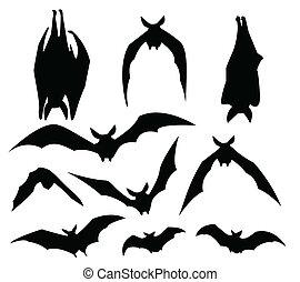 morcegos, silueta