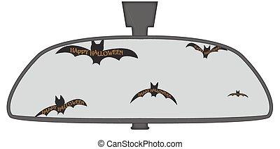 morcegos, vista, dia das bruxas, espelho traseiro
