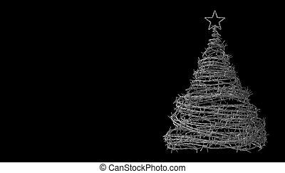 mordaz, hecho, árbol, alambre, fondo negro, navidad