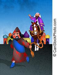 Mordecai Honoured - Feast of Purim - A cartoon illustration...