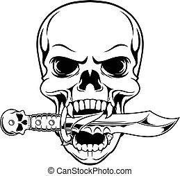 mordedura, daga, cráneo