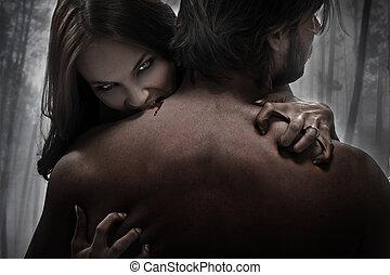 mordedura, mujer, vampiro