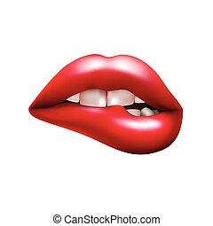 mordendo lábio, vermelho