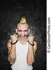 morder, handcuffs., punk