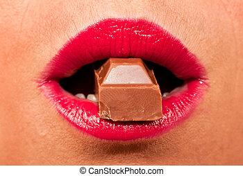 morder, lábios, vermelho, chocolate quente