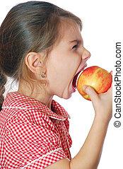 morder, niña, manzana