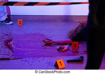 morderstwo, kobieta, scena, zabity