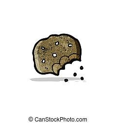 mordido, biscoito, caricatura