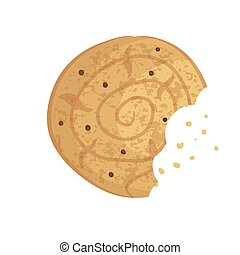 mordido, biscuit., biscoito, lasca, ilustração, vetorial, biscoito