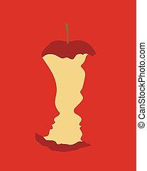 mordido, concepto, manzana, -, eva, original, adán, plano de fondo, pecado, rojo