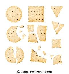 mordido, diferente, lasca, biscoito, formas, biscoito, vector., biscoito