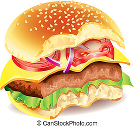 mordido, foto, vector, hamburguesa, realista