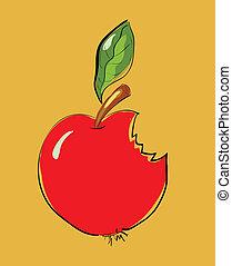 mordido, manzana, rojo, caricatura