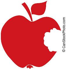 mordido, silueta, manzana, rojo