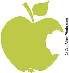mordido, verde, silueta, manzana