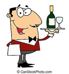 mordomo, macho, servindo, caucasiano, vinho
