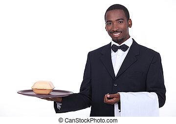 mordomo, takeout, servindo, hambúrguer