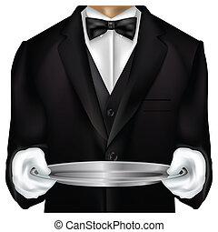 mordomo, torso, vestido, em, tux