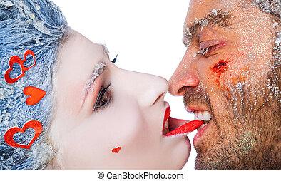 mordre, femme, lèvre, homme, maquillage