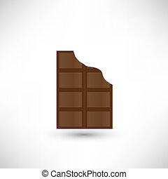 mordu, barre, chocolat, délicieux, fermé, morceau
