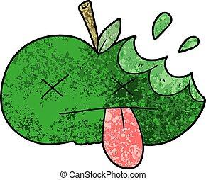 mordu, dessin animé, pomme