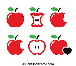 mordu, noyau apple, icônes, pomme, rouges