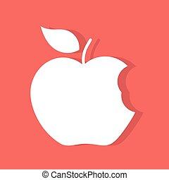 mordu, pomme, étiquette