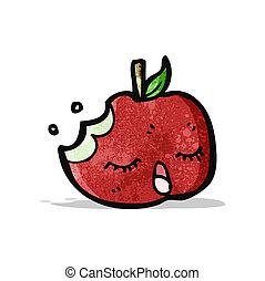 mordu, pomme, dessin animé