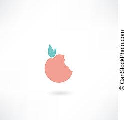 mordu, pomme, icône