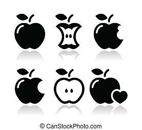 mordu, pomme, noyau apple, icônes