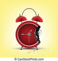 mordu, rouges, horloge