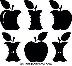 mordu, silhouette, pomme