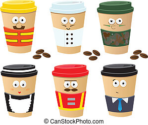 More Coffee Cups Characters - Cute set of 6 coffee cups...