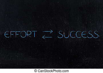 more effort more success text with double arrows in between