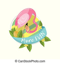 More fun tropical summer label, design element with palm leaves, exotic flowers, pineapples and flamingo vector Illustration