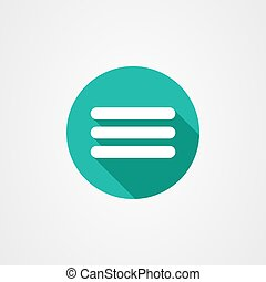 More icon in green background with long shadow effect.