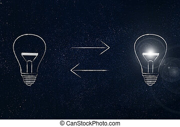 lightbulb going from off to on with double arrows in between