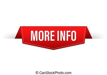 More info red ribbon for paper design. Communication icon symbol. Website template design. Vector stock illustration.